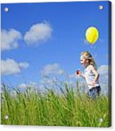 Child Running With A Balloon Acrylic Print