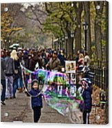 Children And Big Bubbles Acrylic Print
