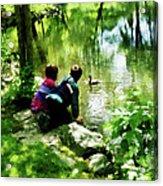 Children And Ducks In Park Acrylic Print