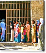 Children And Tourists At Entry To Temple Of Hathor In Dendera-egypt Copy Acrylic Print by Ruth Hager