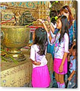 Children Bring Lotus Flowers To Royal Temple At Grand Palace Of Thailand Acrylic Print
