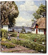 Children In A Farmyard Acrylic Print by Peder Monsted