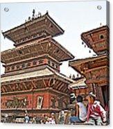 Children On Pagodas In Bhaktapur Durbar Square In Bhaktapur-nepal Acrylic Print