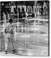 Children Play By Fountain Acrylic Print