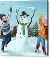Children Playing In Snow Acrylic Print by Martin Davey