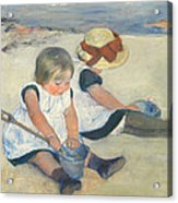 Children Playing On The Beach Acrylic Print