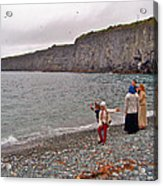 Children Throwing Capelin Back Into The Ocean At Middle Cove-nl Acrylic Print