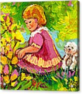 Children's Art - Little Girl With Puppy - Paintings For Children Acrylic Print