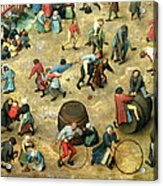 Childrens Games Kinderspiele Detail Of Bottom Section Showing Various Games, 1560 Oil On Panel Acrylic Print