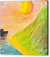 Child's Hand Drawing Of Sea And Mountain Landscape With Crayons Acrylic Print