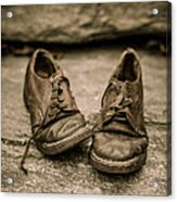 Child's Old Leather Shoes Acrylic Print by Edward Fielding