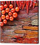 Chilli And Tomato On Rustic Background Acrylic Print
