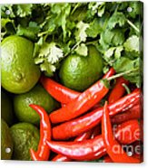 Chillies And Limes Acrylic Print