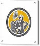 Chimney Sweeper Worker Retro  Acrylic Print by Aloysius Patrimonio