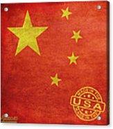 China Flag Made In The Usa Acrylic Print by Tony Rubino