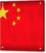 China Flag Vintage Distressed Finish Acrylic Print