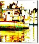 Chincoteague Boat Reflections Acrylic Print