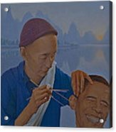 Chinese Citizen Barack Obama On The Ear Scops Acrylic Print by Tu Guohong