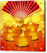 Chinese Gold Bars And Fan With Text Happy New Year Acrylic Print