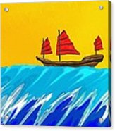 Chinese Junk And Wave Acrylic Print