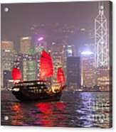 Chinese Junk Sail In Hong Kong Harbor At Night Acrylic Print