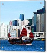 Chinese Junk Sail In Hong Kong Harbor Acrylic Print