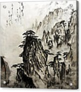 Chinese Mountains With Poem In Ink Brush Calligraphy Of Love Poem Acrylic Print