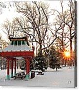 Chinese Pavilion Winter Sunrise Acrylic Print