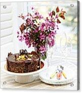 Chocolate Cake With Flowers Acrylic Print