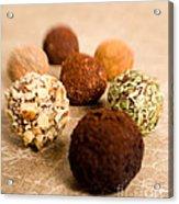 Chocolate Truffles On Gold Acrylic Print