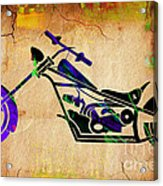 Chopper Motorcycle Painting Acrylic Print