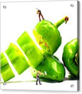 Chopping Green Peppers Little People Big Worlds Acrylic Print