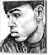 Chris Brown Art Drawing Sketch Portrait Acrylic Print