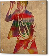 Chris Martin Coldplay Watercolor Portrait On Worn Distressed Canvas Acrylic Print