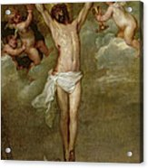 Christ Attended By Angels Holding Chalices Acrylic Print