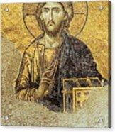 Christ Pantocrator-detail Of Deesis Mosaic Hagia Sophia-judgement Day Acrylic Print