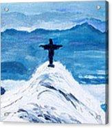 Christ Statue In Rio In Blue Acrylic Print