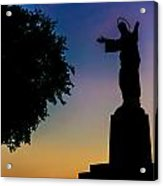 Christ Welcomes Darkness At Sunset Acrylic Print