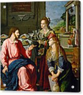 Christ With Mary And Martha Acrylic Print