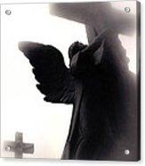 Angel With Jesus On Cross - Christian Art Cross - Spiritual Angel On Cross  Acrylic Print