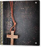 Christian Cross On Bible Acrylic Print