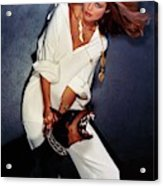 Christie Brinkley Wearing Geoffrey Beene Pajamas Acrylic Print