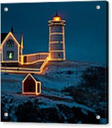 Christmas At Nubble Light Acrylic Print