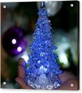 A Christmas Crystal Tree In Blue Acrylic Print
