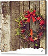 Christmas Cardinal. Acrylic Print by Kelly Nelson