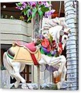 Christmas Carousel White Horse Acrylic Print