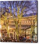 Christmas Crowd At Quincy Market Acrylic Print
