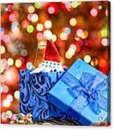 Christmas Dog In Box Acrylic Print