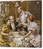 Christmas Eve Dinner In The Private Dining Room Of A Great Restaurant Acrylic Print by Ludovico Marchetti