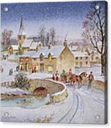 Christmas Eve In The Village  Acrylic Print by Stanley Cooke